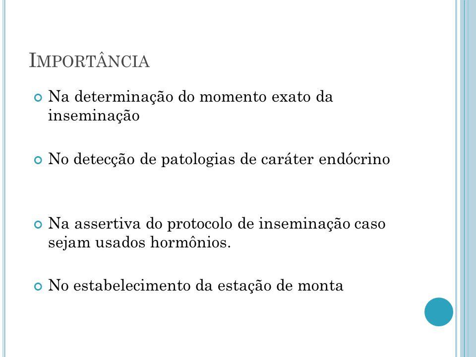 I MPORTÂNCIA Na determinação do momento exato da inseminação No detecção de patologias de caráter endócrino Na assertiva do protocolo de inseminação caso sejam usados hormônios.
