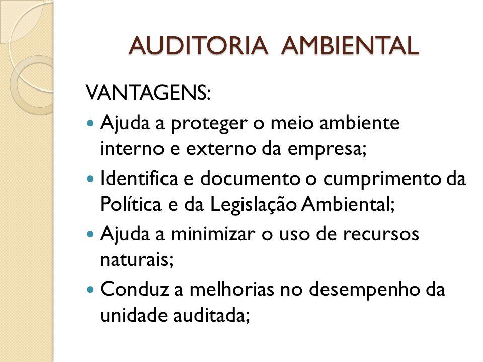 AUDITORIA AMBIENTAL VANTAGENS: Ajuda a proteger o meio ambiente interno e externo da empresa; Identifica e documento o cumprimento da Política e da Le
