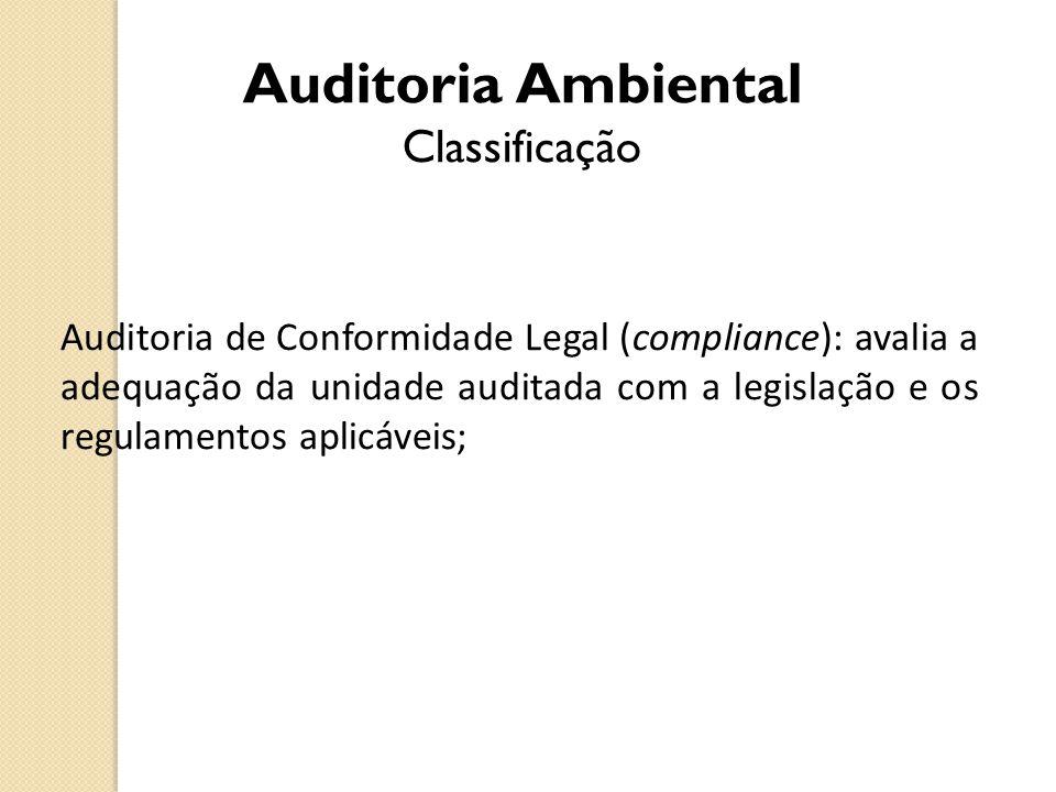 Auditoria Ambiental Classificação Auditoria de Conformidade Legal (compliance): avalia a adequação da unidade auditada com a legislação e os regulamen