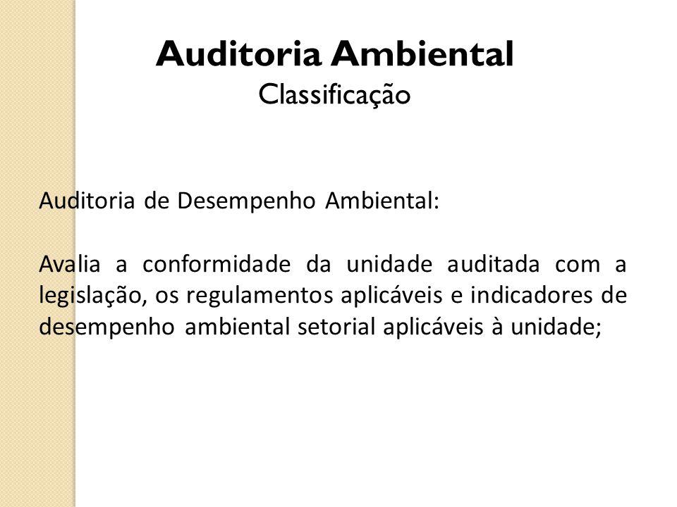 Auditoria Ambiental Classificação Auditoria de Desempenho Ambiental: Avalia a conformidade da unidade auditada com a legislação, os regulamentos aplic
