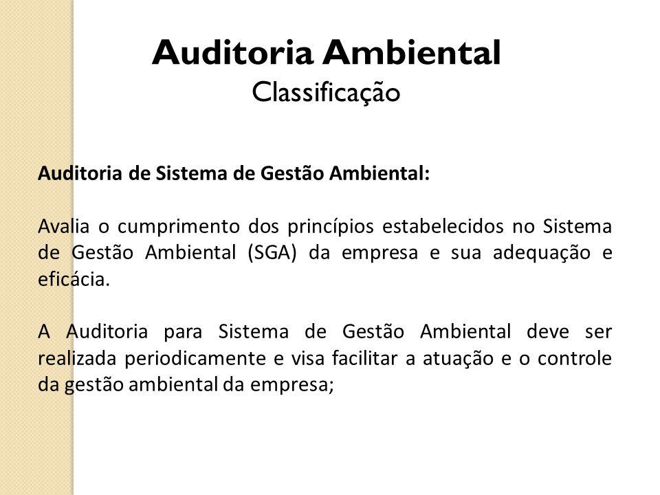 Auditoria de Sistema de Gestão Ambiental: Avalia o cumprimento dos princípios estabelecidos no Sistema de Gestão Ambiental (SGA) da empresa e sua adeq