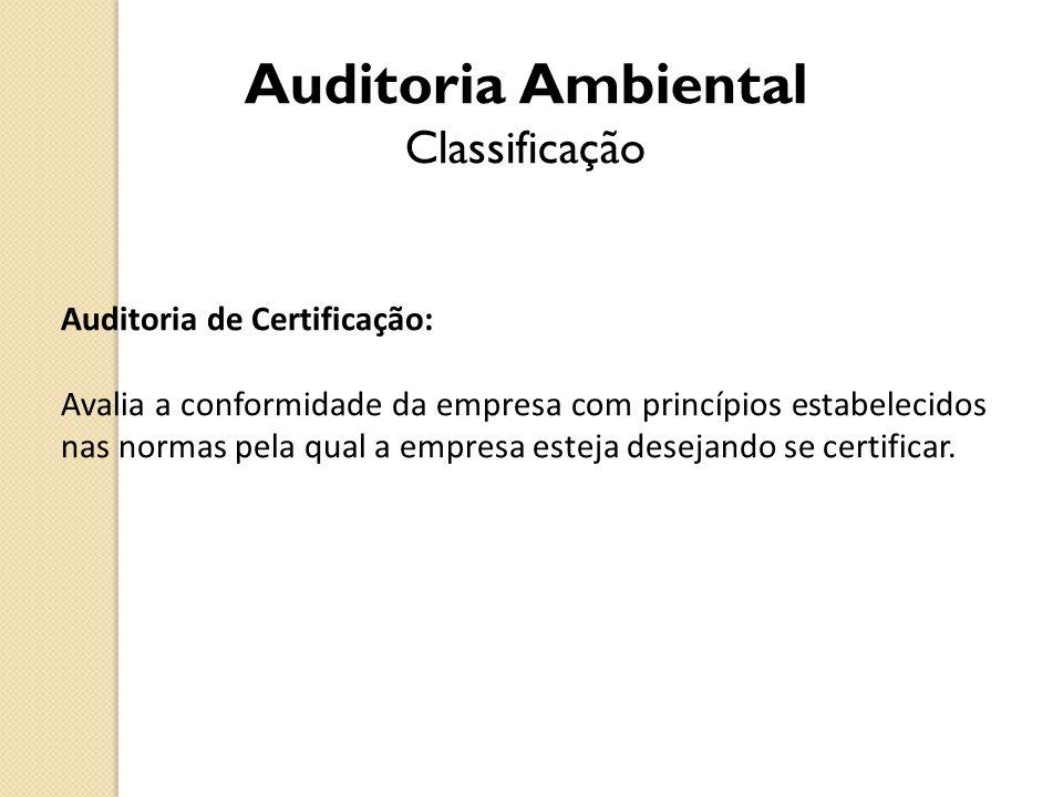 Auditoria de Certificação: Avalia a conformidade da empresa com princípios estabelecidos nas normas pela qual a empresa esteja desejando se certificar