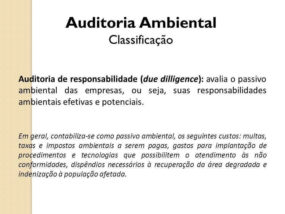 Auditoria Ambiental Classificação Auditoria de responsabilidade (due dilligence): avalia o passivo ambiental das empresas, ou seja, suas responsabilid