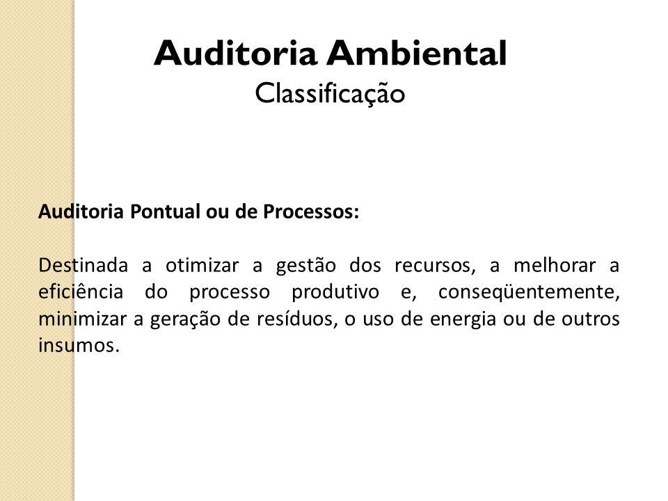 Auditoria Ambiental Classificação Auditoria Pontual ou de Processos: Destinada a otimizar a gestão dos recursos, a melhorar a eficiência do processo p