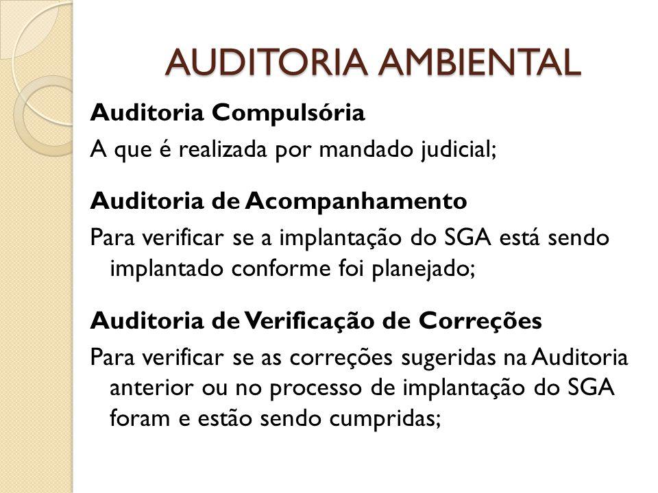 AUDITORIA AMBIENTAL Auditoria Compulsória A que é realizada por mandado judicial; Auditoria de Acompanhamento Para verificar se a implantação do SGA e