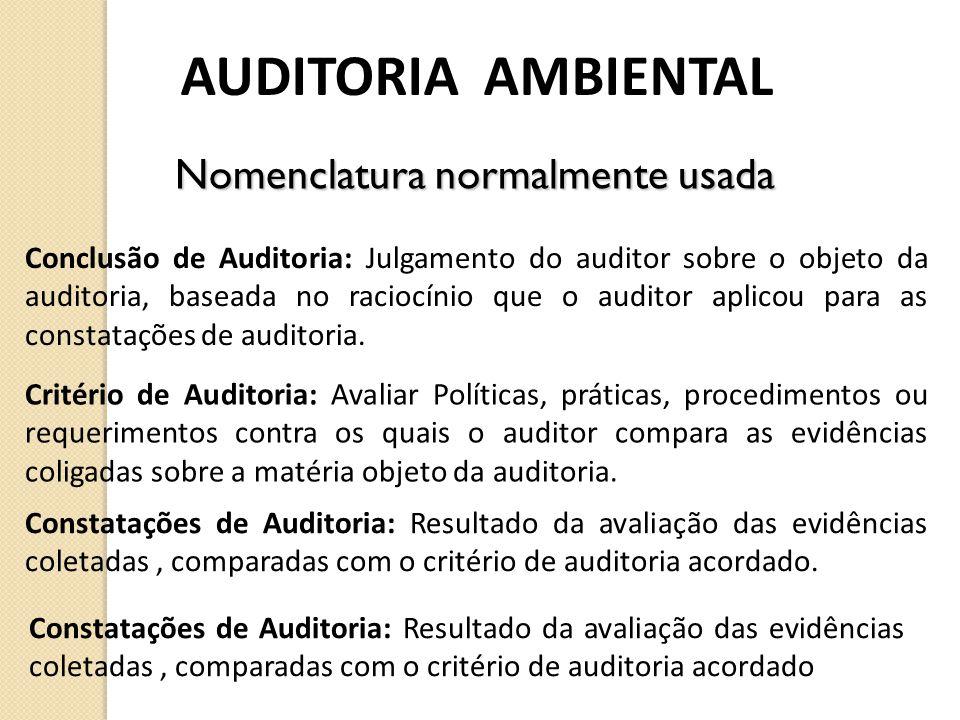 AUDITORIA AMBIENTAL Conclusão de Auditoria: Julgamento do auditor sobre o objeto da auditoria, baseada no raciocínio que o auditor aplicou para as con