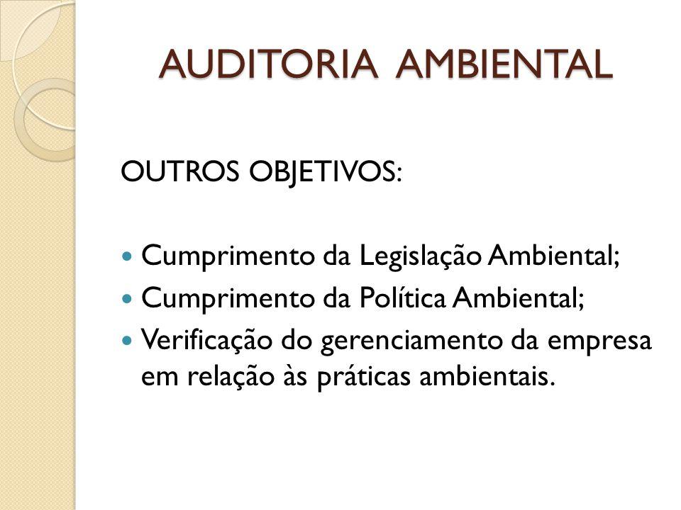AUDITORIA AMBIENTAL OUTROS OBJETIVOS: Cumprimento da Legislação Ambiental; Cumprimento da Política Ambiental; Verificação do gerenciamento da empresa
