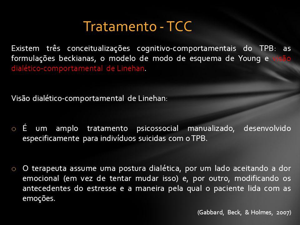 Existem três conceitualizações cognitivo-comportamentais do TPB: as formulações beckianas, o modelo de modo de esquema de Young e visão dialético-comp