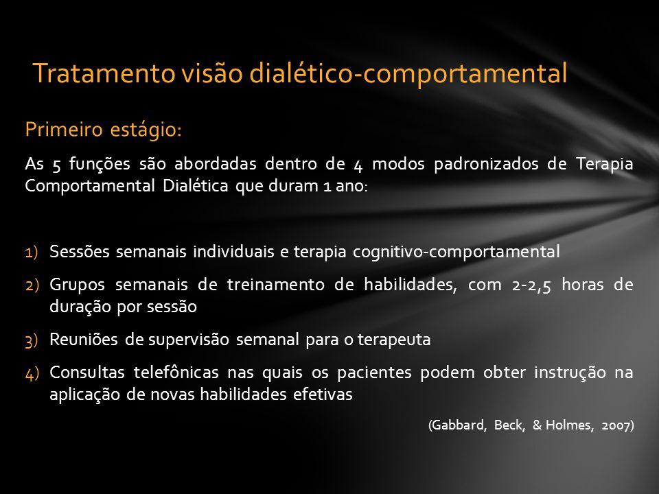 Primeiro estágio: As 5 funções são abordadas dentro de 4 modos padronizados de Terapia Comportamental Dialética que duram 1 ano: 1)Sessões semanais in