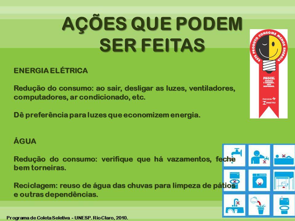 AÇÕES QUE PODEM SER FEITAS ENERGIA ELÉTRICA Redução do consumo: ao sair, desligar as luzes, ventiladores, computadores, ar condicionado, etc.
