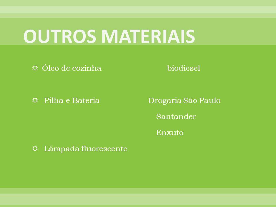 Óleo de cozinha biodiesel Pilha e Bateria Drogaria São Paulo Santander Enxuto Lâmpada fluorescente