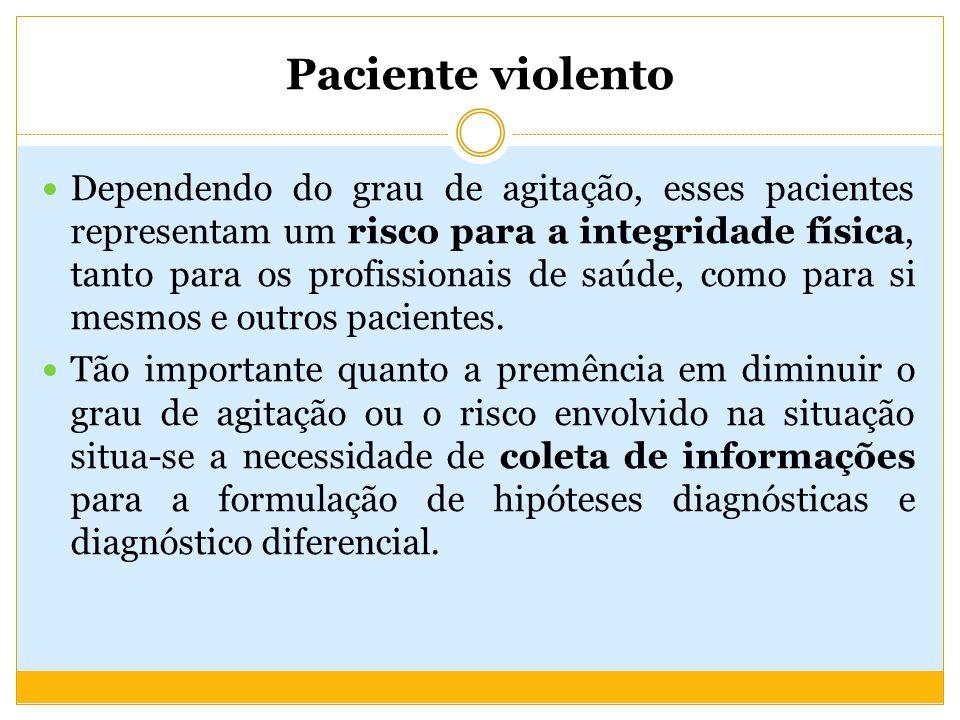 Paciente violento Profissionais com Habilidades diversas Trabalho em equipe Agilidade Paciente violento