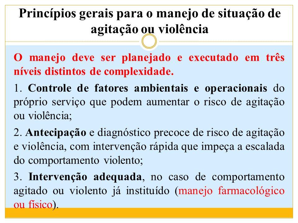 Princípios gerais para o manejo de situação de agitação ou violência O manejo deve ser planejado e executado em três níveis distintos de complexidade.