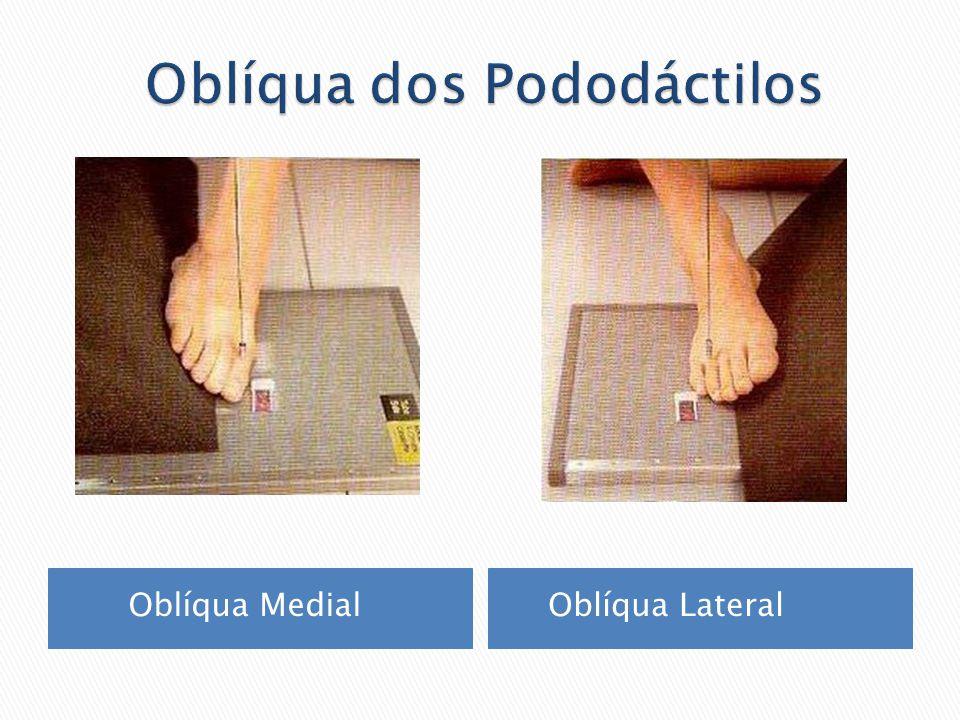 Roda a perna e o pé medialmente, a 30º a 45º para o 1º,2º e 3º dedo e lateralmente para o 4º e 5º dedo.