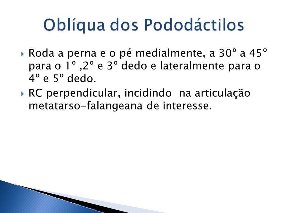 Roda a perna e o pé medialmente, a 30º a 45º para o 1º,2º e 3º dedo e lateralmente para o 4º e 5º dedo. RC perpendicular, incidindo na articulação met