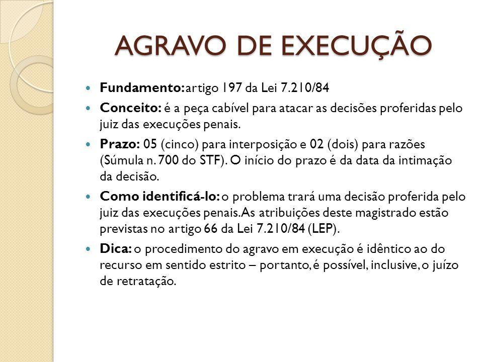 AGRAVO DE EXECUÇÃO Fundamento: artigo 197 da Lei 7.210/84 Conceito: é a peça cabível para atacar as decisões proferidas pelo juiz das execuções penais