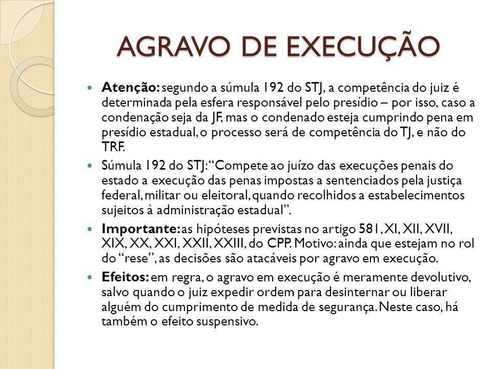 AGRAVO DE EXECUÇÃO Atenção: segundo a súmula 192 do STJ, a competência do juiz é determinada pela esfera responsável pelo presídio – por isso, caso a