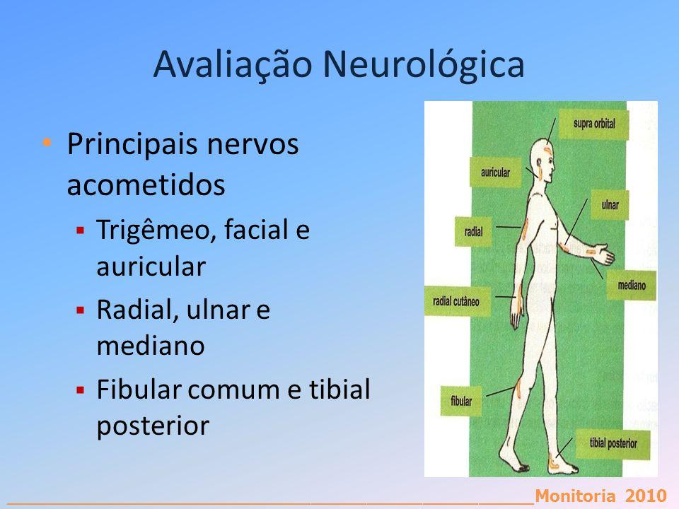 _________________________________________________________Monitoria 2010 Avaliação Neurológica Principais nervos acometidos Trigêmeo, facial e auricula