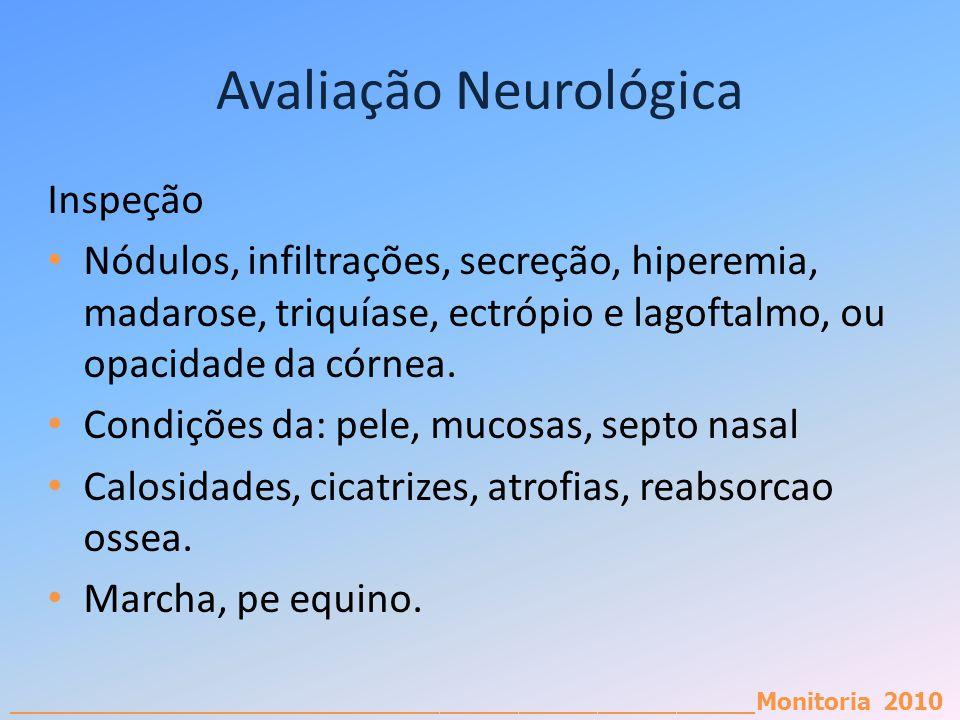 _________________________________________________________Monitoria 2010 Avaliação Neurológica Inspeção Nódulos, infiltrações, secreção, hiperemia, mad
