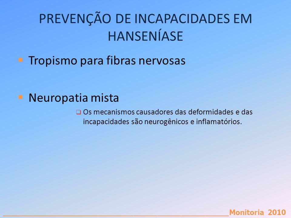 _________________________________________________________Monitoria 2010 PREVENÇÃO DE INCAPACIDADES EM HANSENÍASE Tropismo para fibras nervosas Neuropa