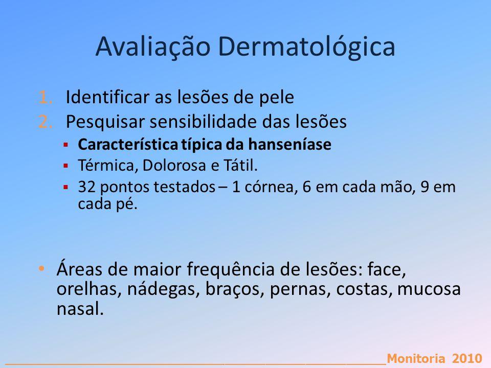 _________________________________________________________Monitoria 2010 Avaliação Dermatológica 1.Identificar as lesões de pele 2.Pesquisar sensibilid