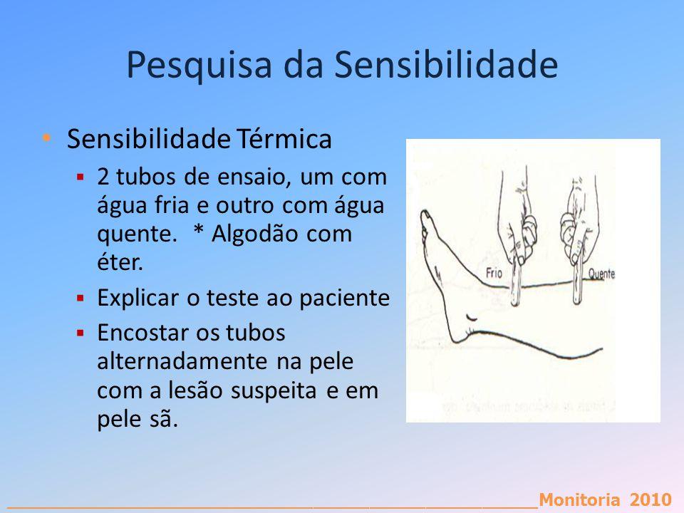 _________________________________________________________Monitoria 2010 Pesquisa da Sensibilidade Sensibilidade Térmica 2 tubos de ensaio, um com água
