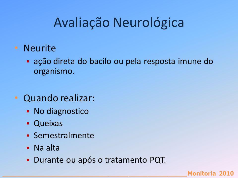_________________________________________________________Monitoria 2010 Avaliação Neurológica Neurite ação direta do bacilo ou pela resposta imune do