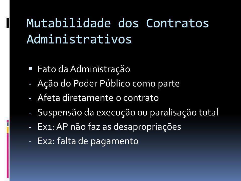 Mutabilidade dos Contratos Administrativos Fato da Administração - Ação do Poder Público como parte - Afeta diretamente o contrato - Suspensão da exec