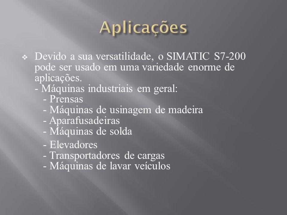 Devido a sua versatilidade, o SIMATIC S7-200 pode ser usado em uma variedade enorme de aplicações. - Máquinas industriais em geral: - Prensas - Máquin