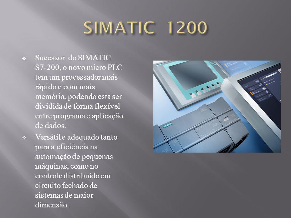 Sucessor do SIMATIC S7-200, o novo micro PLC tem um processador mais rápido e com mais memória, podendo esta ser dividida de forma flexível entre programa e aplicação de dados.