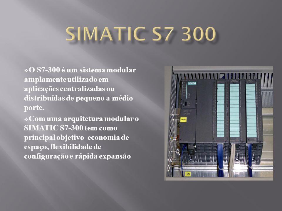 O S7-300 é um sistema modular amplamente utilizado em aplicações centralizadas ou distribuídas de pequeno a médio porte. Com uma arquitetura modular o