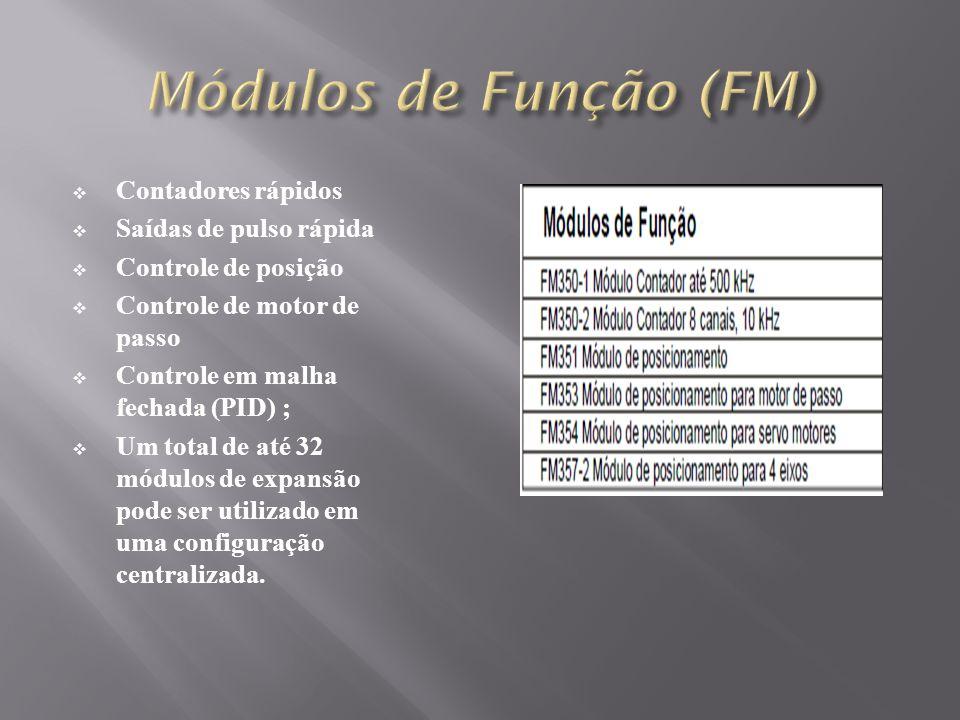 Contadores rápidos Saídas de pulso rápida Controle de posição Controle de motor de passo Controle em malha fechada (PID) ; Um total de até 32 módulos