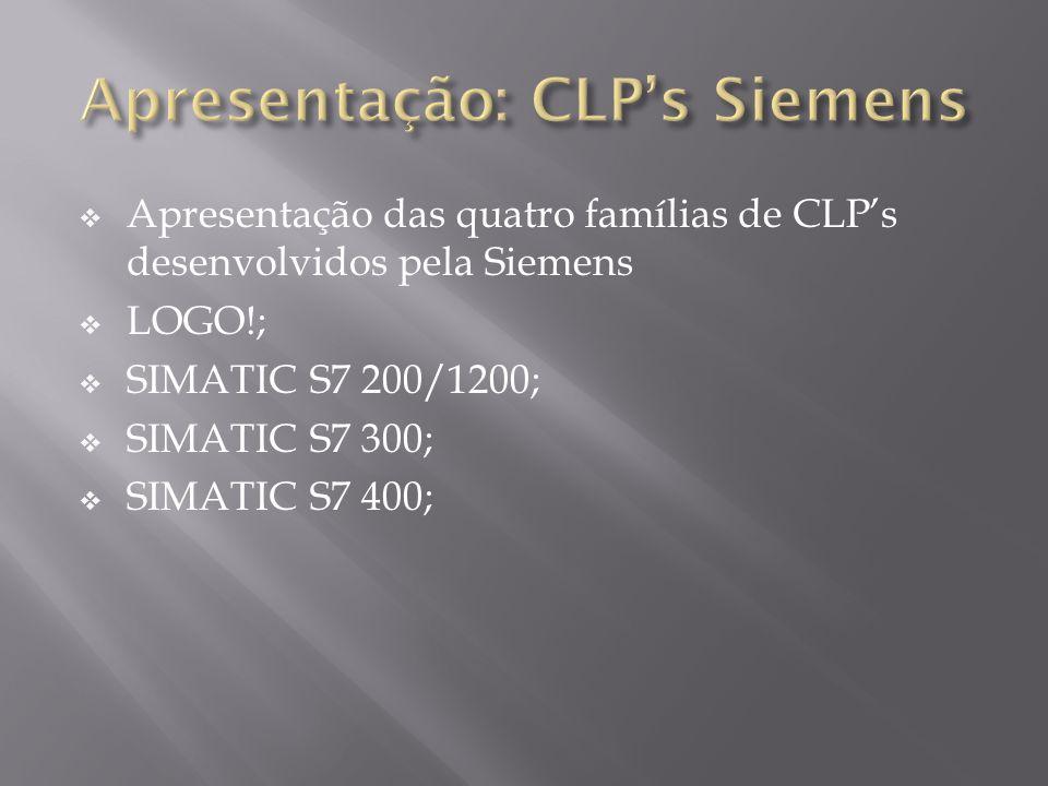 Apresentação das quatro famílias de CLPs desenvolvidos pela Siemens LOGO!; SIMATIC S7 200/1200; SIMATIC S7 300; SIMATIC S7 400;
