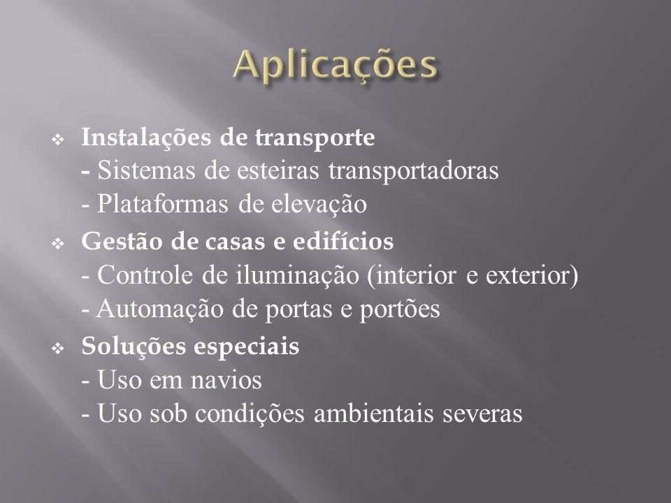 Instalações de transporte - Sistemas de esteiras transportadoras - Plataformas de elevação Gestão de casas e edifícios - Controle de iluminação (interior e exterior) - Automação de portas e portões Soluções especiais - Uso em navios - Uso sob condições ambientais severas