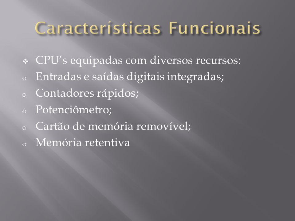 CPUs equipadas com diversos recursos: o Entradas e saídas digitais integradas; o Contadores rápidos; o Potenciômetro; o Cartão de memória removível; o Memória retentiva
