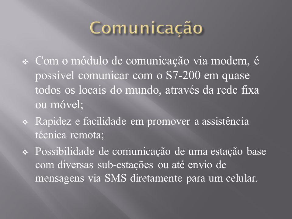 Com o módulo de comunicação via modem, é possível comunicar com o S7-200 em quase todos os locais do mundo, através da rede fixa ou móvel; Rapidez e facilidade em promover a assistência técnica remota; Possibilidade de comunicação de uma estação base com diversas sub-estações ou até envio de mensagens via SMS diretamente para um celular.