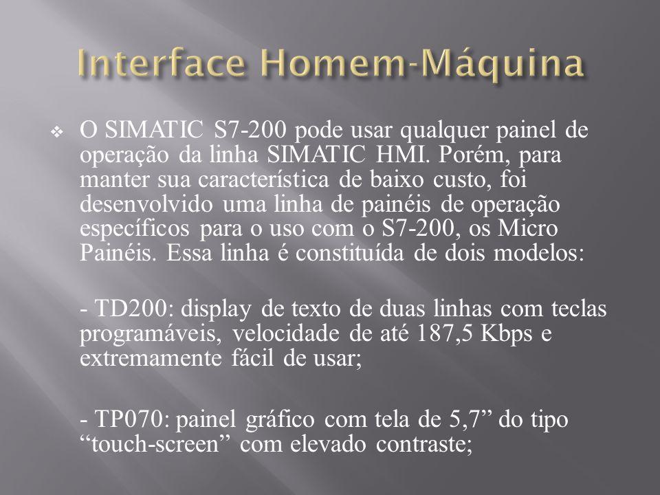 O SIMATIC S7-200 pode usar qualquer painel de operação da linha SIMATIC HMI. Porém, para manter sua característica de baixo custo, foi desenvolvido um