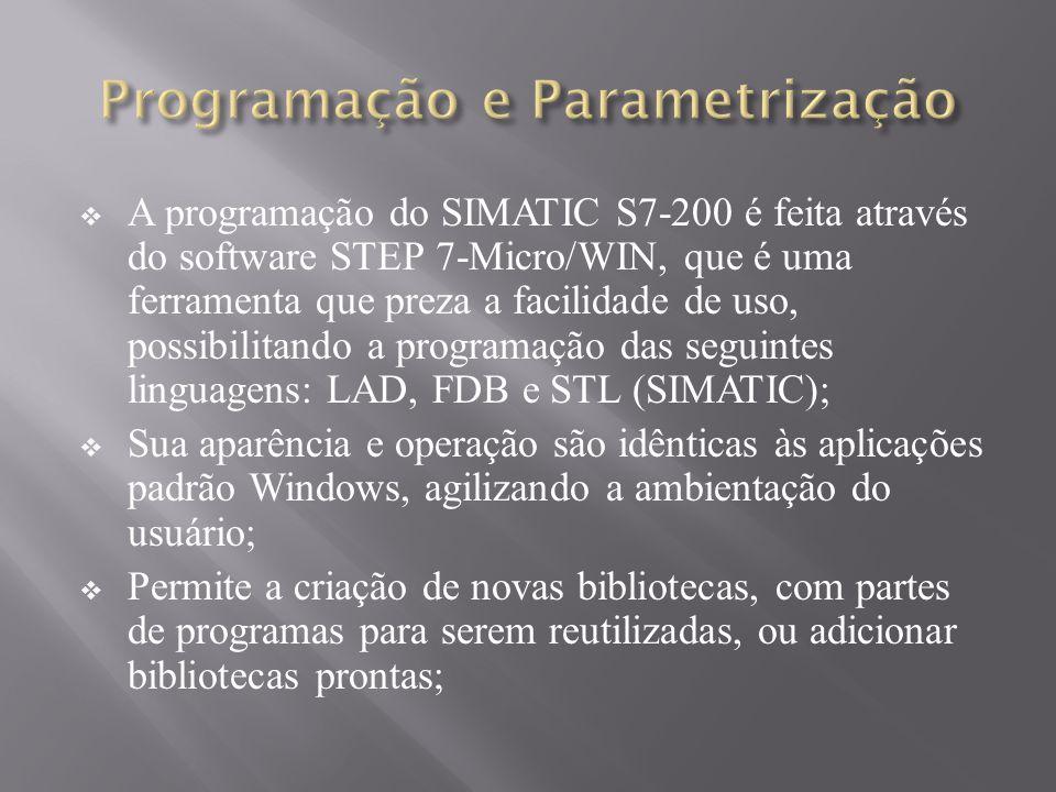 A programação do SIMATIC S7-200 é feita através do software STEP 7-Micro/WIN, que é uma ferramenta que preza a facilidade de uso, possibilitando a programação das seguintes linguagens: LAD, FDB e STL (SIMATIC); Sua aparência e operação são idênticas às aplicações padrão Windows, agilizando a ambientação do usuário; Permite a criação de novas bibliotecas, com partes de programas para serem reutilizadas, ou adicionar bibliotecas prontas;