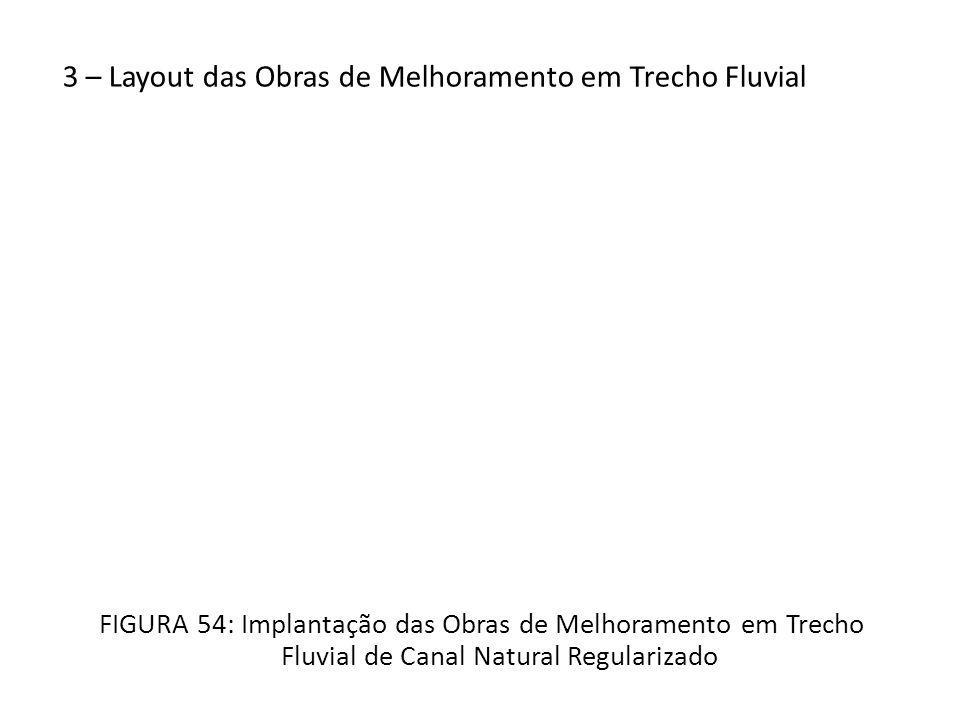 3 – Layout das Obras de Melhoramento em Trecho Fluvial FIGURA 54: Implantação das Obras de Melhoramento em Trecho Fluvial de Canal Natural Regularizado
