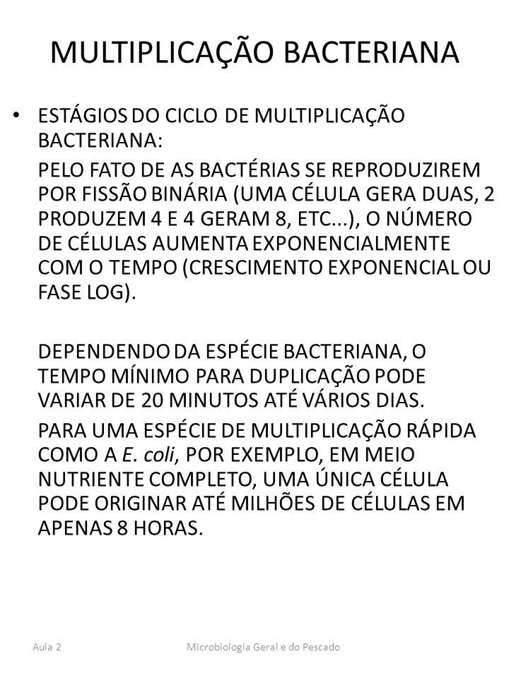 MULTIPLICAÇÃO BACTERIANA ESTÁGIOS DO CICLO DE MULTIPLICAÇÃO BACTERIANA: PELO FATO DE AS BACTÉRIAS SE REPRODUZIREM POR FISSÃO BINÁRIA (UMA CÉLULA GERA