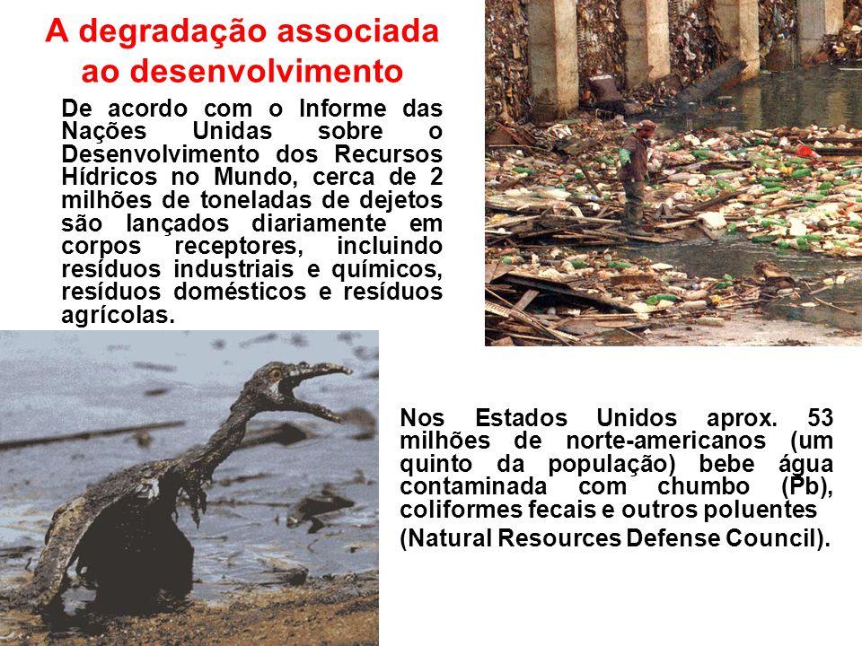 A degradação associada ao desenvolvimento De acordo com o Informe das Nações Unidas sobre o Desenvolvimento dos Recursos Hídricos no Mundo, cerca de 2