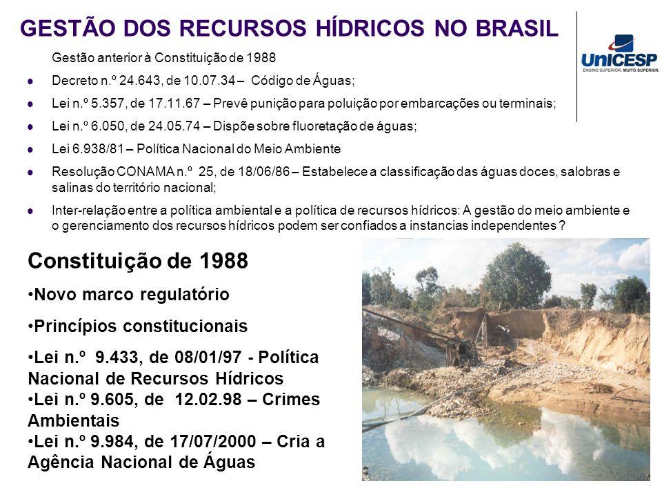 GESTÃO DOS RECURSOS HÍDRICOS NO BRASIL Gestão anterior à Constituição de 1988 Decreto n.º 24.643, de 10.07.34 – Código de Águas; Lei n.º 5.357, de 17.