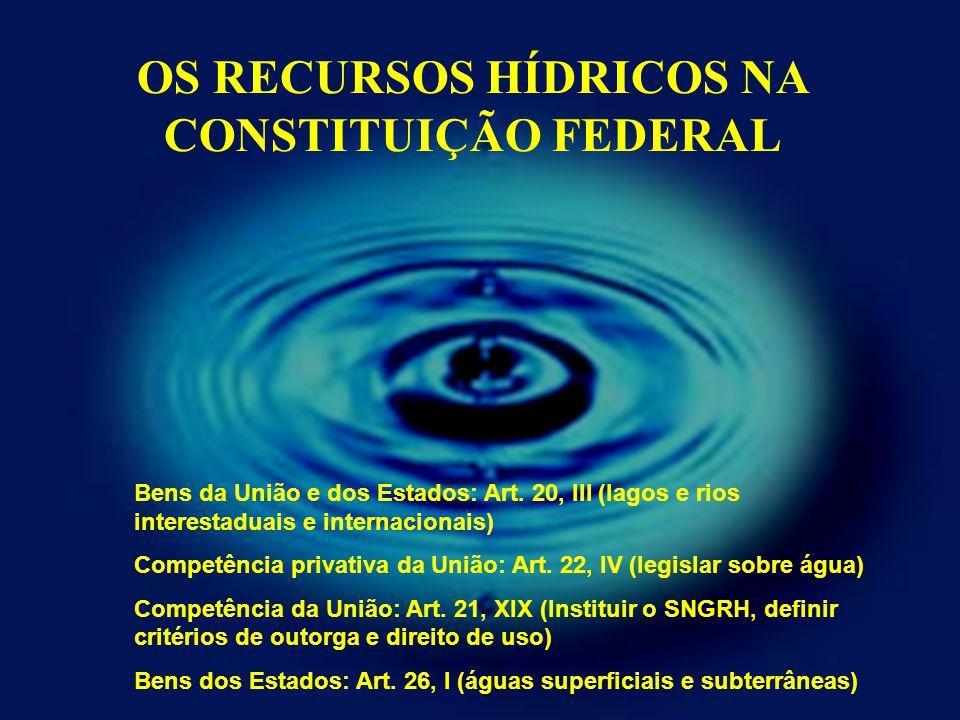 OS RECURSOS HÍDRICOS NA CONSTITUIÇÃO FEDERAL Bens da União e dos Estados: Art. 20, III (lagos e rios interestaduais e internacionais) Competência priv