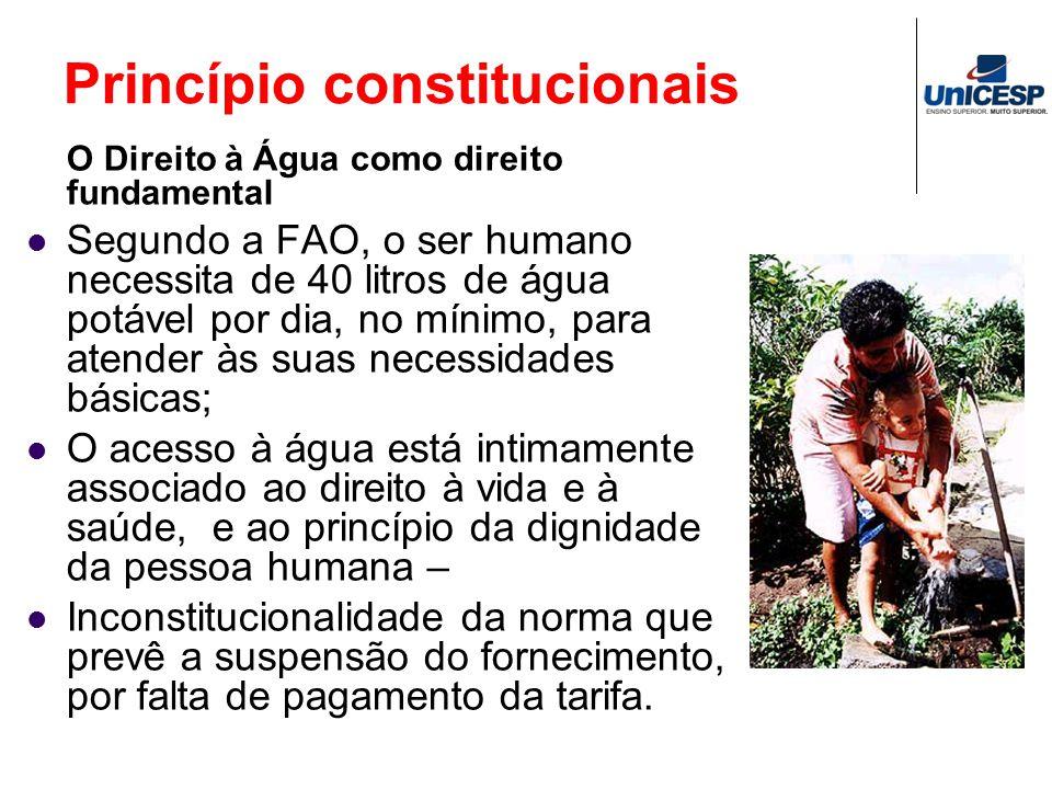 Princípio constitucionais O Direito à Água como direito fundamental Segundo a FAO, o ser humano necessita de 40 litros de água potável por dia, no mín