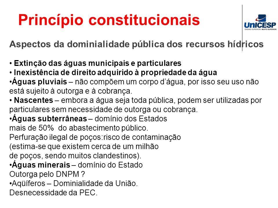 Princípio constitucionais Aspectos da dominialidade pública dos recursos hídricos Extinção das águas municipais e particulares Inexistência de direito