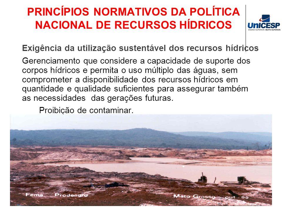 PRINCÍPIOS NORMATIVOS DA POLÍTICA NACIONAL DE RECURSOS HÍDRICOS Exigência da utilização sustentável dos recursos hídricos Gerenciamento que considere