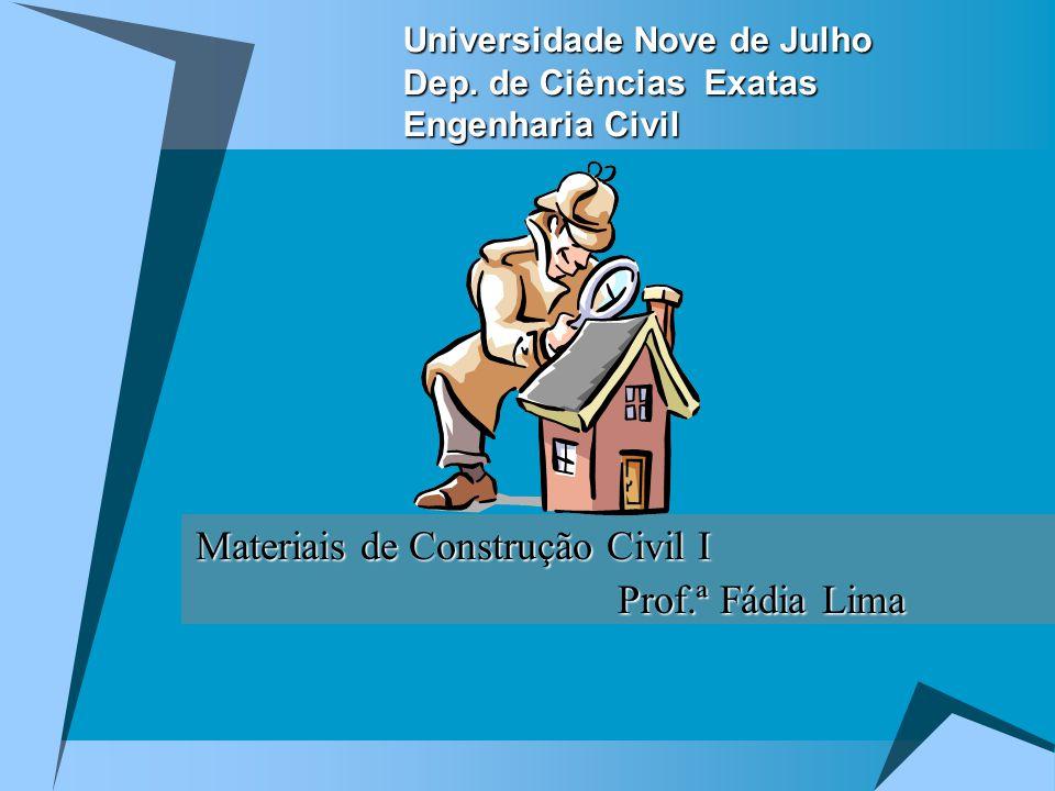 Universidade Nove de Julho Dep. de Ciências Exatas Engenharia Civil Materiais de Construção Civil I Prof.ª Fádia Lima