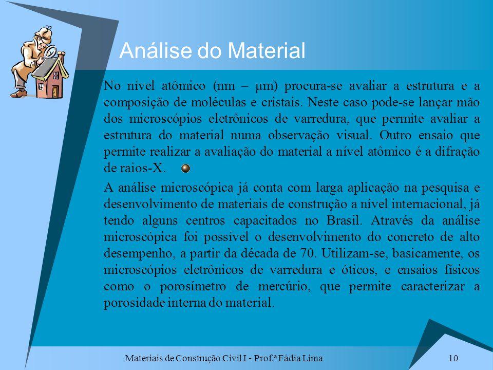 Materiais de Construção Civil I - Prof.ª Fádia Lima 10 Análise do Material No nível atômico (nm – μm) procura-se avaliar a estrutura e a composição de