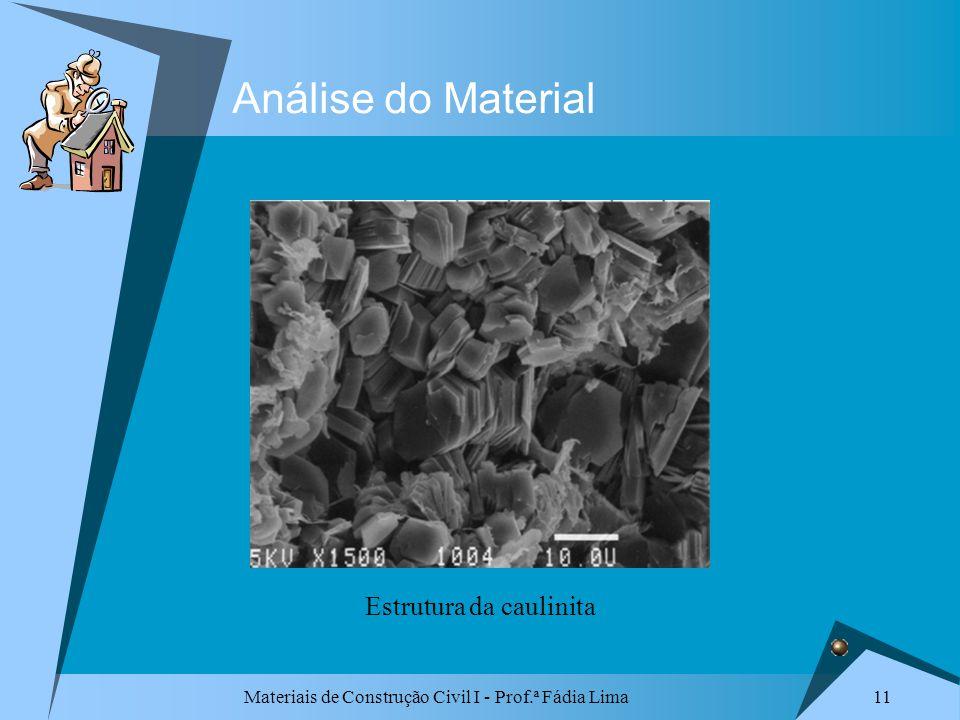 Materiais de Construção Civil I - Prof.ª Fádia Lima 11 Análise do Material Estrutura da caulinita