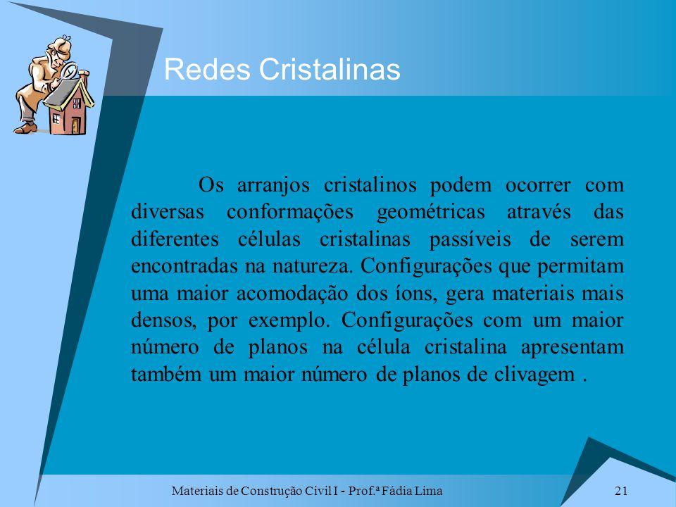 Materiais de Construção Civil I - Prof.ª Fádia Lima 21 Redes Cristalinas Os arranjos cristalinos podem ocorrer com diversas conformações geométricas a